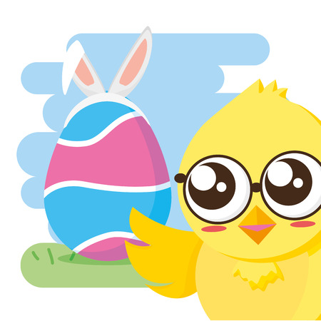 chick and egg with ears happy easter vector illustration