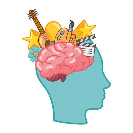 head with brain idea creativity paintbrush color vector illustration Stock Illustratie