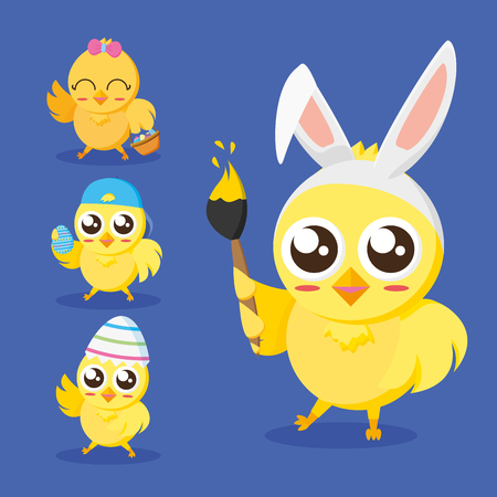 chick with paintbrush happy easter vector illustration Çizim