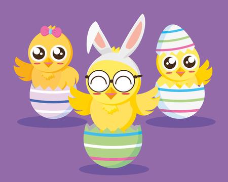 three chicks in eggs happy easter vector illustration
