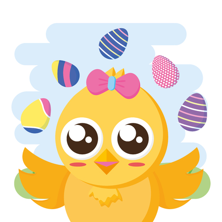 chick girl decorative eggs happy easter vector illustration