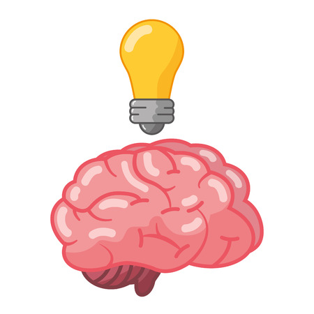 brain idea creativity bulb light vector illustration Illustration