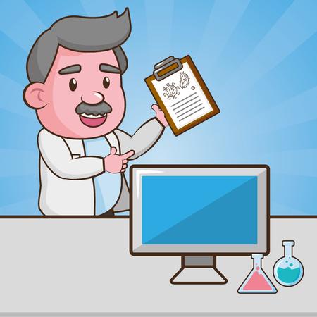 scientific clipboard computer flask laboratory science vector illustration  イラスト・ベクター素材