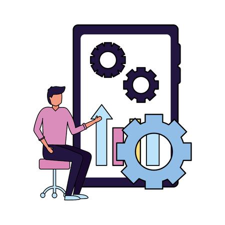man mobile chart gear business work vector illustration