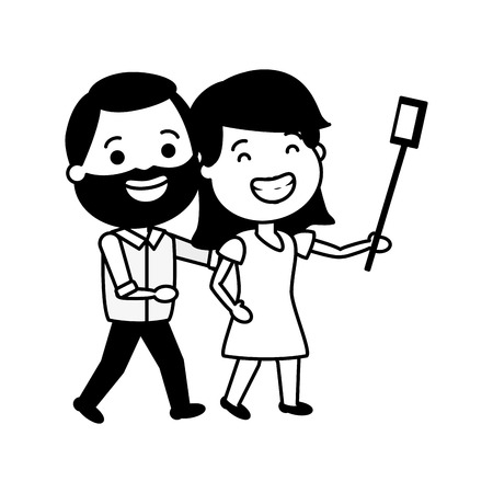 smiling couple taking selfie cellphone with stick vector illustration Stock Vector - 124715048