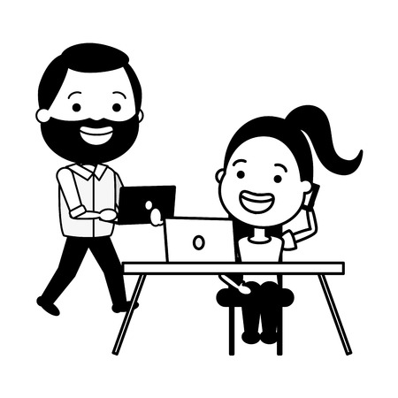 young woman and man office laptop tech device vector illustration Banque d'images - 124715050