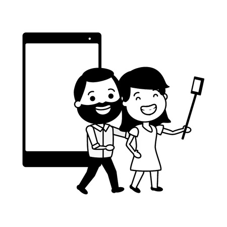 smiling couple taking selfie cellphone tech device vector illustration