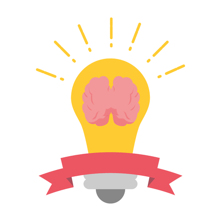 bulb brain think idea creativity vector illustration