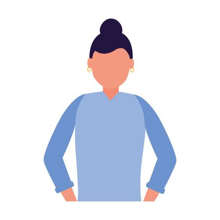 Retrato de personaje de mujer en la ilustración de vector de fondo blanco Ilustración de vector