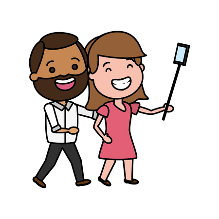 smiling couple taking selfie cellphone with stick vector illustration
