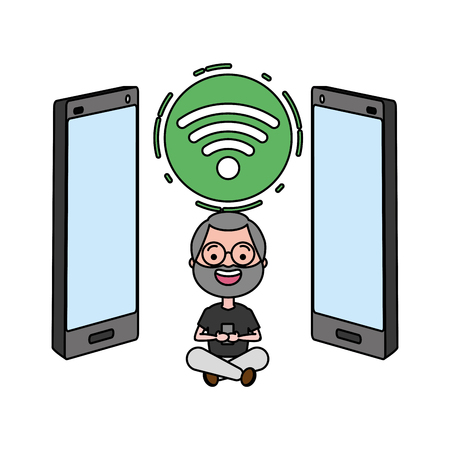 old man with cellphone internet tech device vector illustration