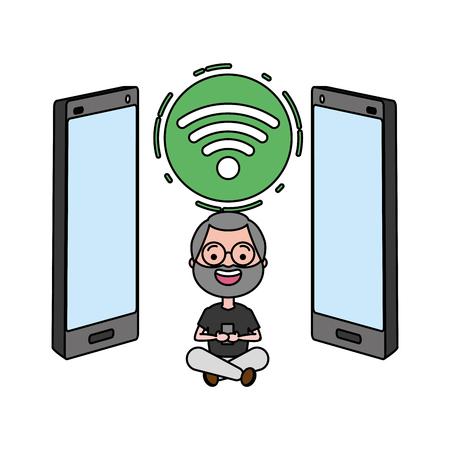 uomo anziano con l'illustrazione di vettore del dispositivo di tecnologia di Internet del cellulare