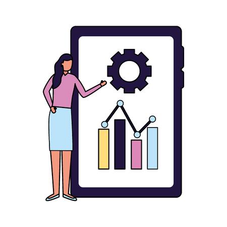 woman mobile report business work vector illustration 写真素材 - 124715092