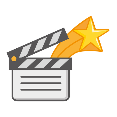 film movie clapperboard star on white background vector illustration Stock Illustratie