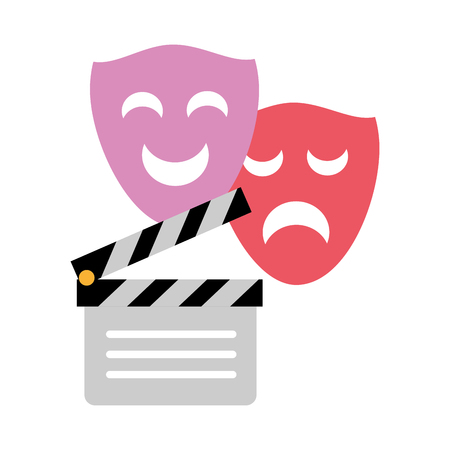 clapperboard drama comedy masks white background vector illustration Imagens - 124715104