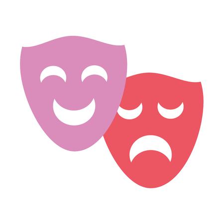 drama comedy masks theater on white background vector illustration Ilustrace