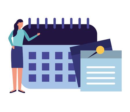 business woman work office calendar note memo vector illustration