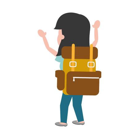 happy woman travel bag tourist vector illustration Foto de archivo - 124715112
