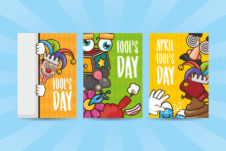 banners prank funny celebration april fools day vector illustration