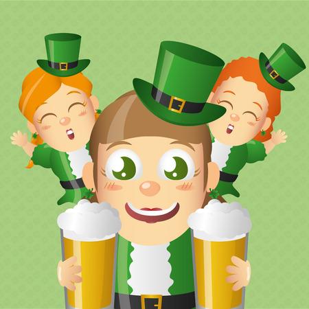 leprechaun girls and beers happy st patricks day vector illustration