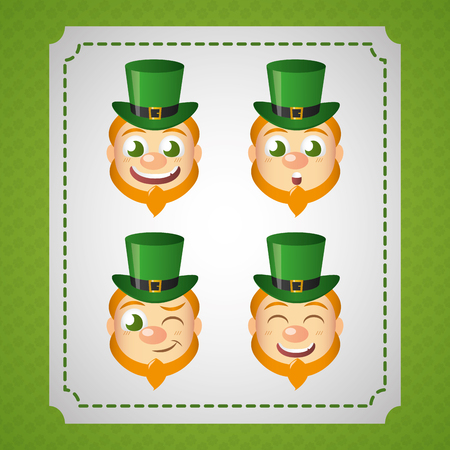 leprechaun faces expression happy st patricks day vector illustration