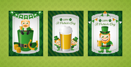 banners with leprechaun characters happy st patricks day vector illustration