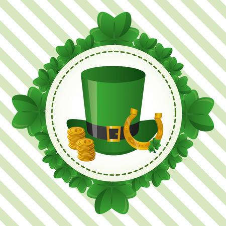 wreath clovers hat horseshoe coins happy st patricks day vector illustration Illustration