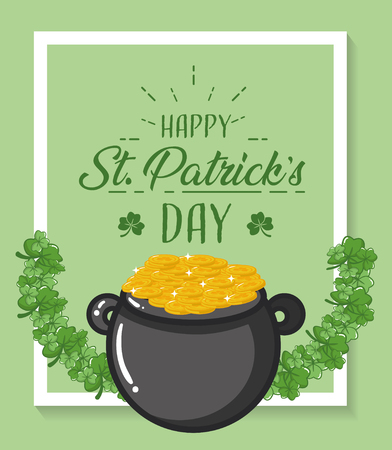 cauldron coins happy st patricks day vector illustration Ilustracja