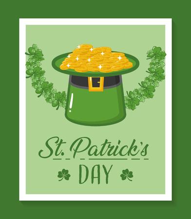 happy st patricks day frame coins hat ribbon vector illustration