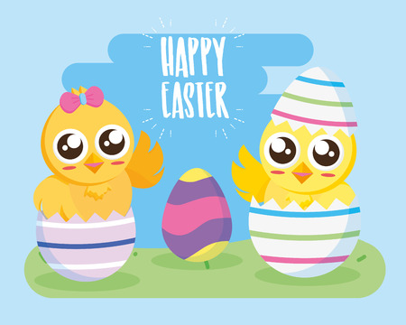 couple chicks in eggs happy easter vector illustration Çizim