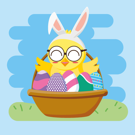 chick in basket with eggs happy easter vector illustration 일러스트