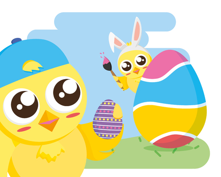 chick with egg painted happy easter vector illustration