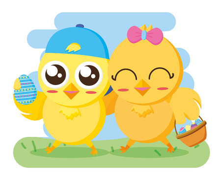 couple chicks with basket and egg happy easter vector illustration