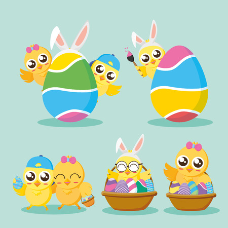 set of chicks happy easter vector illustration