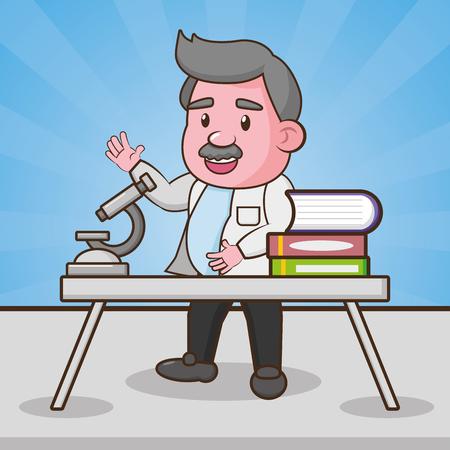scientific microscope books laboratory science vector illustration  イラスト・ベクター素材