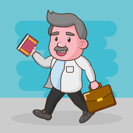 scientific professor with book and suitcase vector illustration Иллюстрация