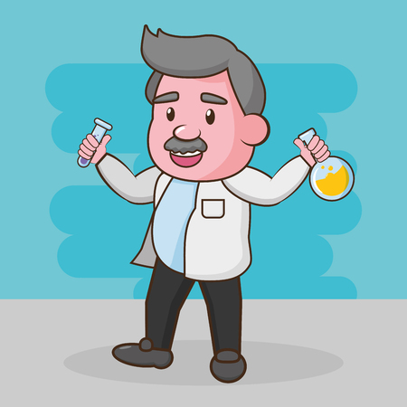 scientific with pippete and flask laboratory science vector illustration Illustration