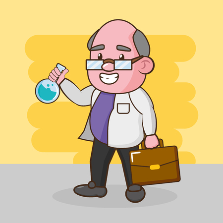 scientific professor with test tube and suitcase vector illustration
