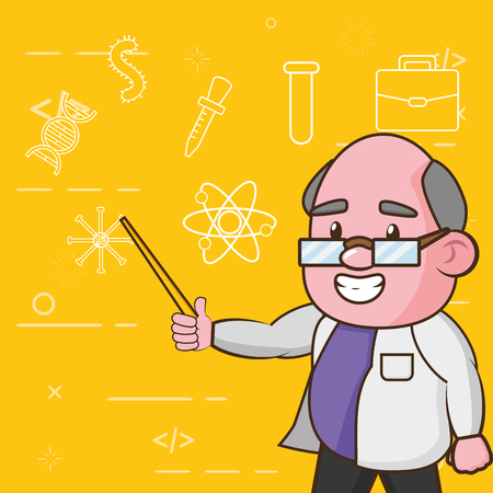 scientific professor teaches science laboratory vector illustration Foto de archivo - 124715146