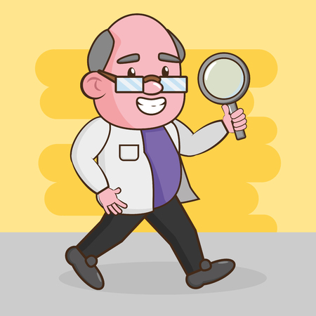 scientific professor magnifying glass laboratory science vector illustration