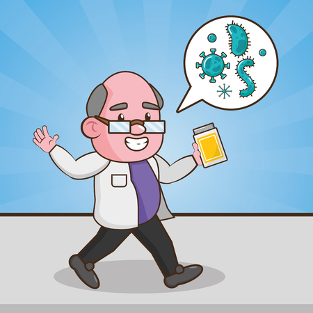 scientific with sample bacteria laboratory science vector illustration