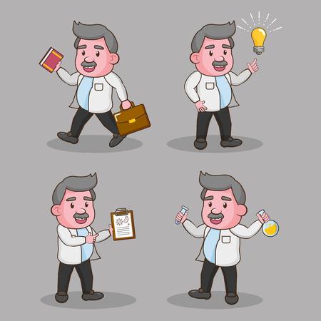 set of professors scientific laboratory science vector illustration