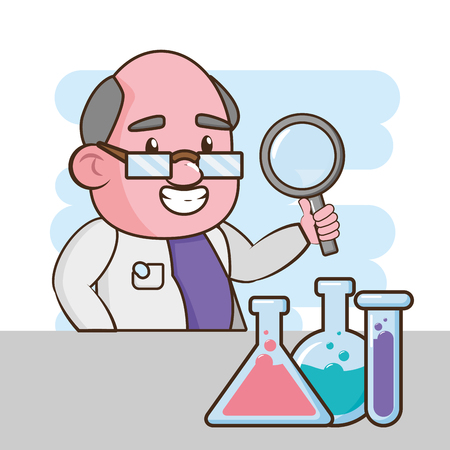 scientific magnifying glass test tubes laboratory science vector illustration 版權商用圖片 - 124715151