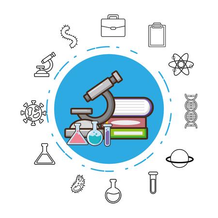 microscope books test tubes laboratory science vector illustration  イラスト・ベクター素材