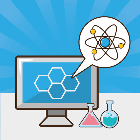 computer atom molecule test tube laboratory tool science vector illustration
