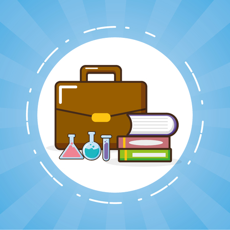 books pile flasks and suitcacse laboratory tool science vector illustration