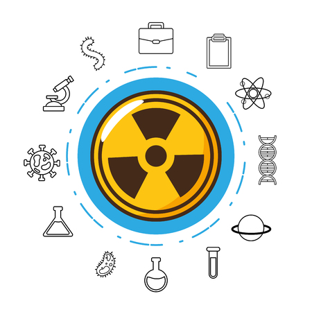 radiaton danger sign laboratory tool science vector illustration Ilustrace