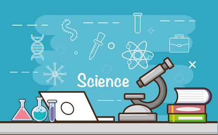 microscope laptop books flasks laboratory tool science vector illustration