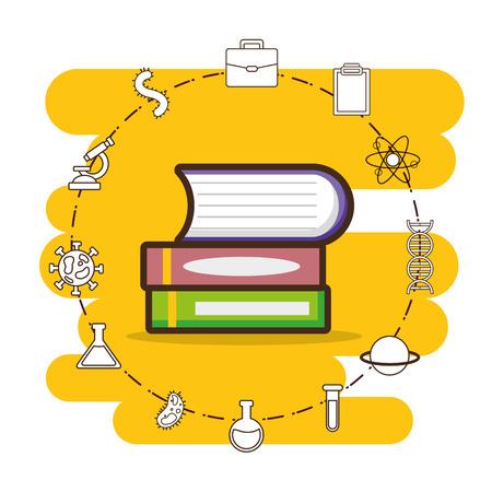 Libros apilados herramienta de laboratorio ciencia ilustración vectorial Ilustración de vector