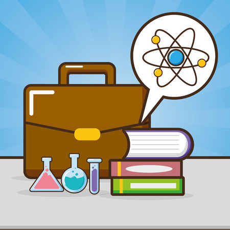 books pile flasks atom and suitcacse laboratory science vector illustration